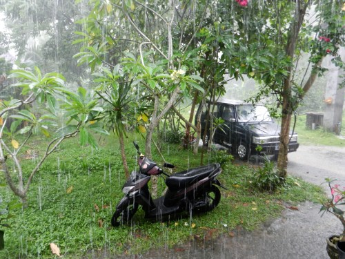 My motorbike getting soaked