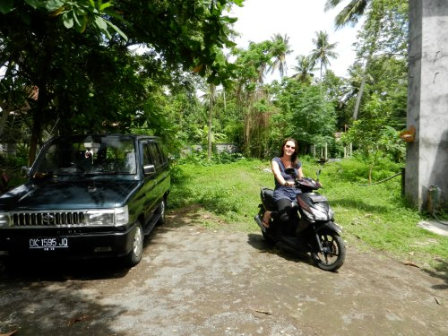 Cece on the sepeda motor